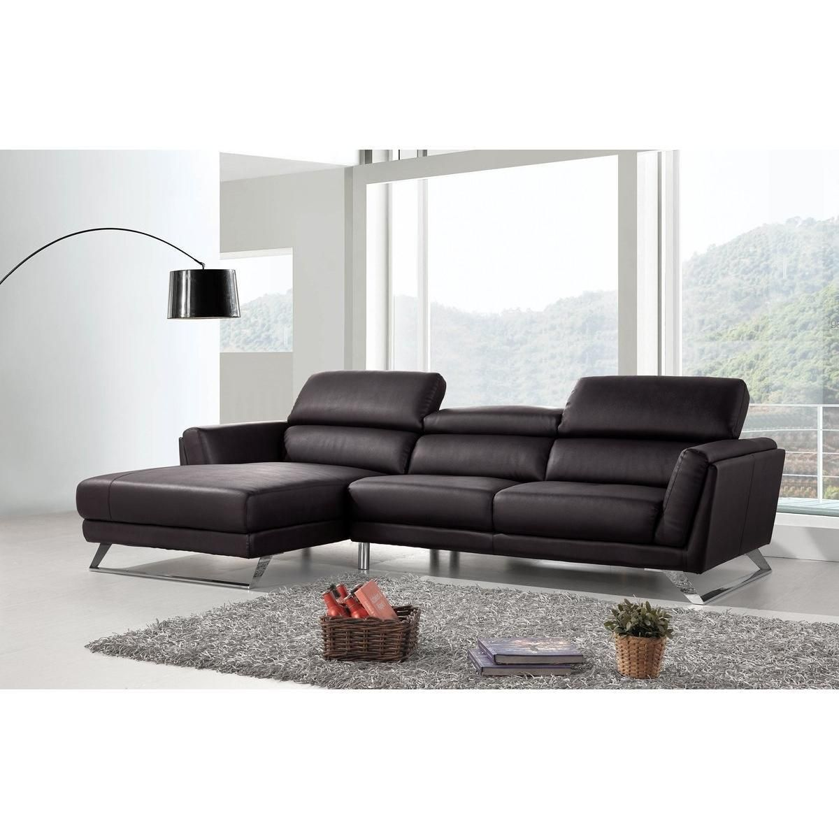 Divani Casa Doss Modern Black Eco Leather Sectional Sofa Leather