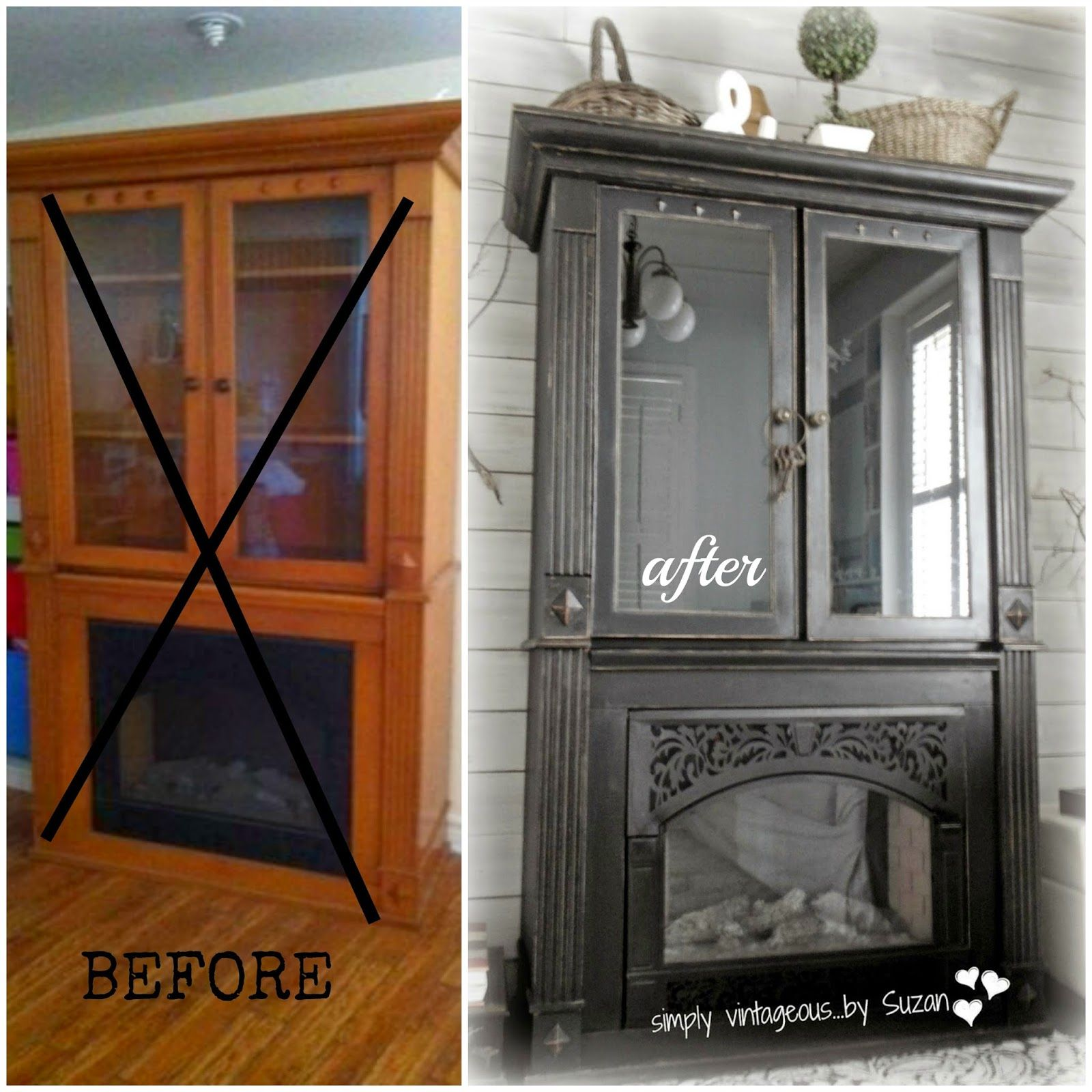 Cabinets And Fireplace Surrounds: Painted Black Cabinet - Before And After