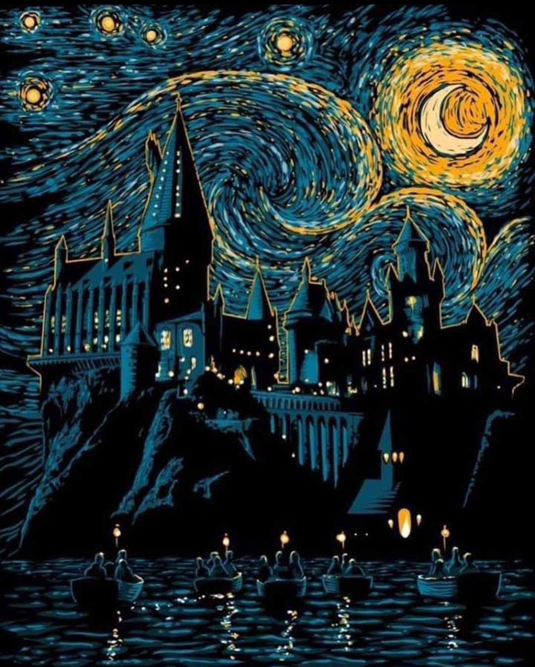Hogwarts Starry Night Harry Potter Wallpaper Harry Potter Art Harry Potter Facts