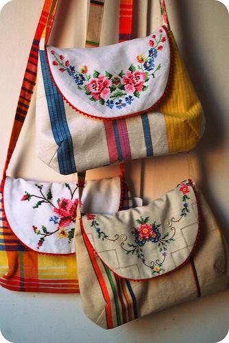 Vintage Fabric Bags www.leahhalliday.co.uk bordado en punto cruz.