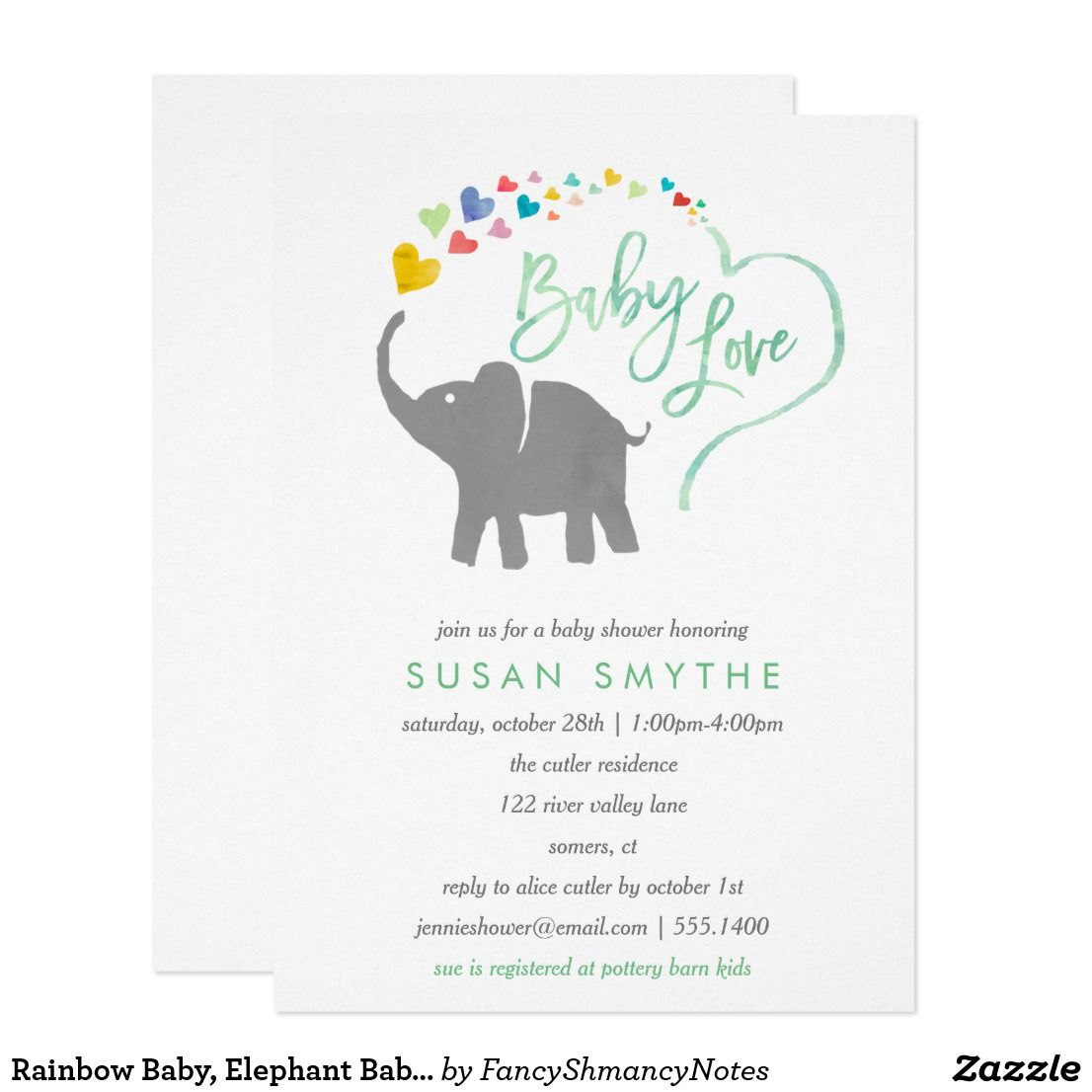 Rainbow Baby, Elephant Baby Shower Invitation | Rainbow baby ...