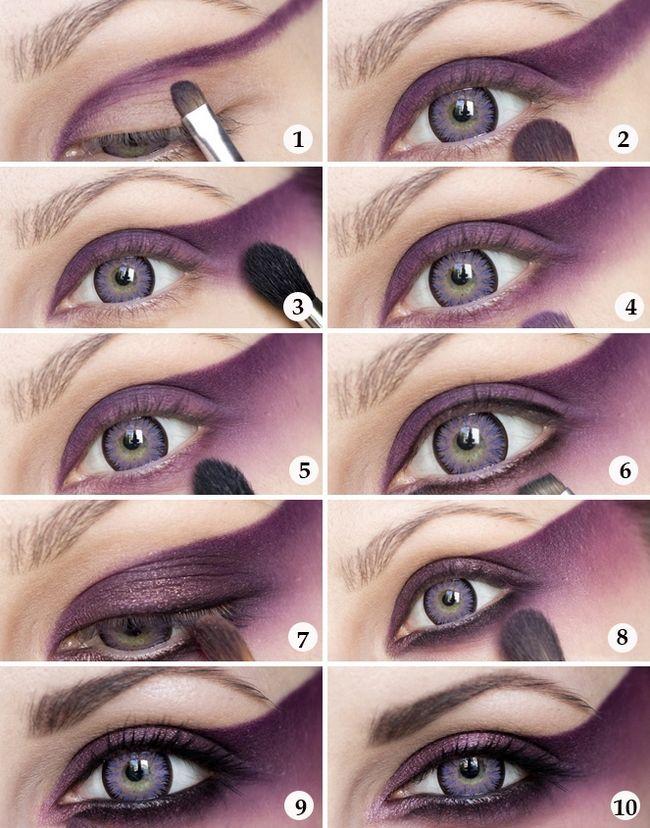 halloween makeup girl tutorial silver purple liner | Makeup Looks ...