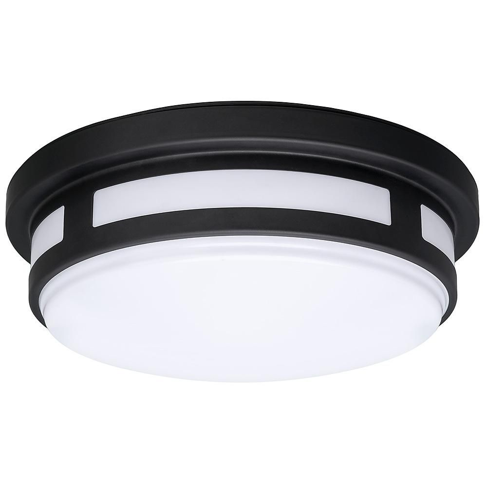 Hampton Bay 11 In Round Black Integrated Led Outdoor Flush Mount With Color Selectable Feature Porch Ceiling Lights Outdoor Flush Mounts Ceiling Lights