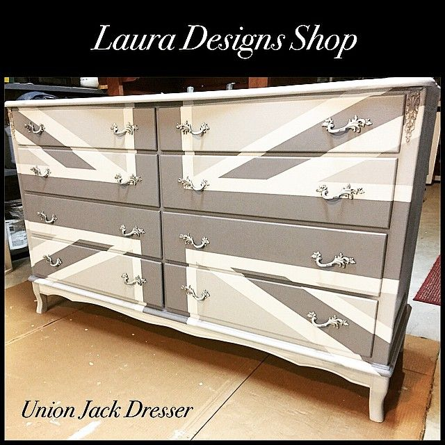 Pewter Metallic Paint Helps Create A Gorgeous Union Jack Dresser By Laura Rotonta Of Designs