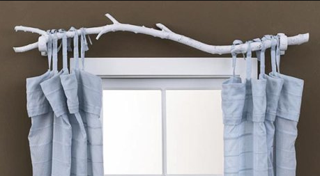 tree branch as curtain rod! This is a great idea!