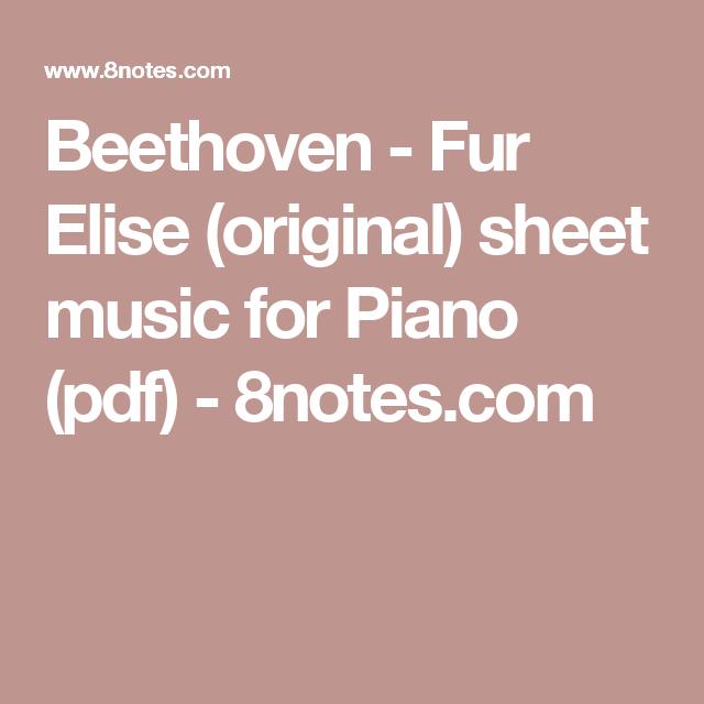 Fur Elise (original) Sheet Music For Piano