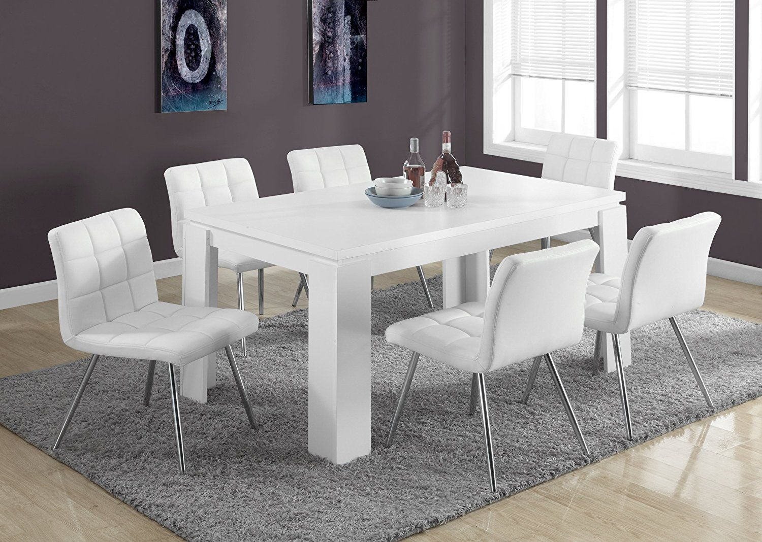 Amazon  Monarch Specialties White Hollowcore Dining Table Magnificent 36 Dining Room Table Review