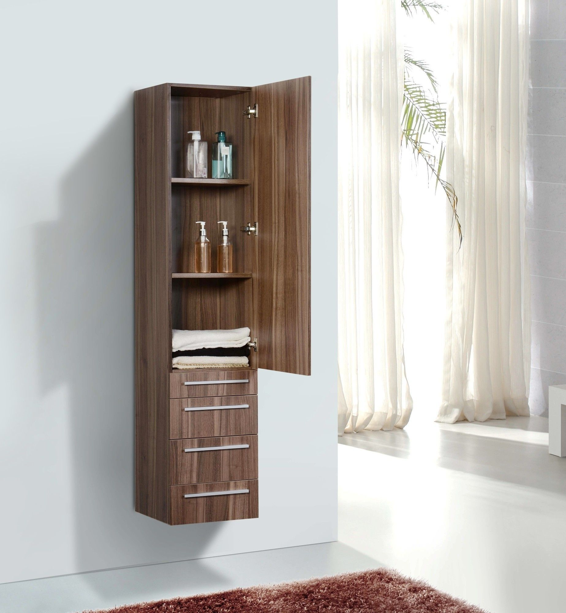 Brown Harwood Floating Linen Cabinet On White Wall Panel And White ...