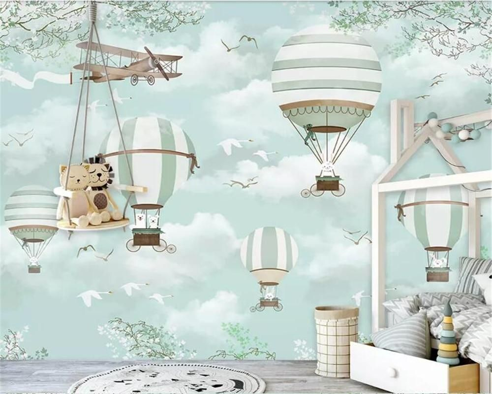 Customized Child Room Background Wall 3d Wallpaper Blue Sky White Clouds Hot Air Trivoshop Kids Room Wallpaper Wall Wallpaper Murals For Kids