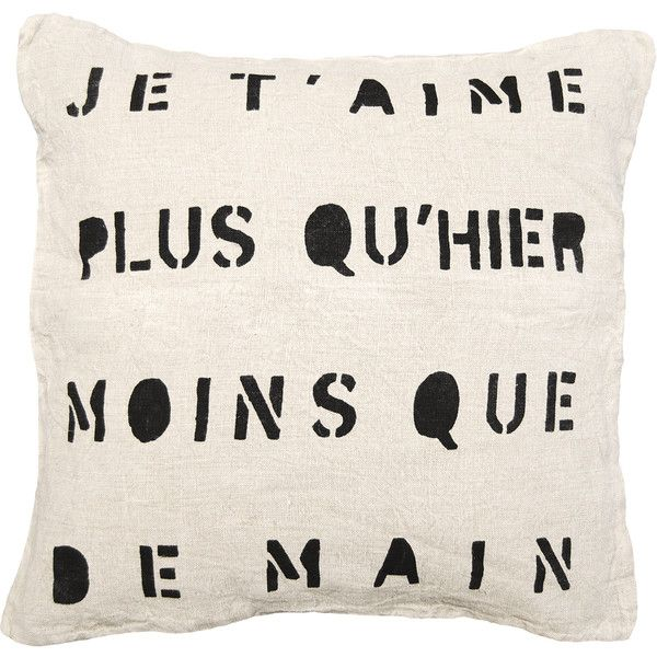 Je T'Aime Infinite Love Linen Down Throw Pillow ($120) ❤ liked on Polyvore featuring home, home decor, throw pillows, filler, folk art, aime, animal throw pillows and linen throw pillows