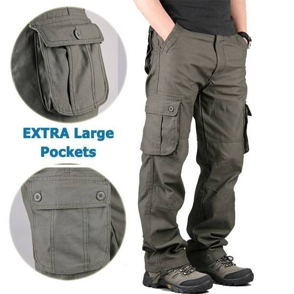 Men s Extra Large Multi Pockets Outdoor Cargo Pants Casual Loose Cotton  Trousers 2255fd8922