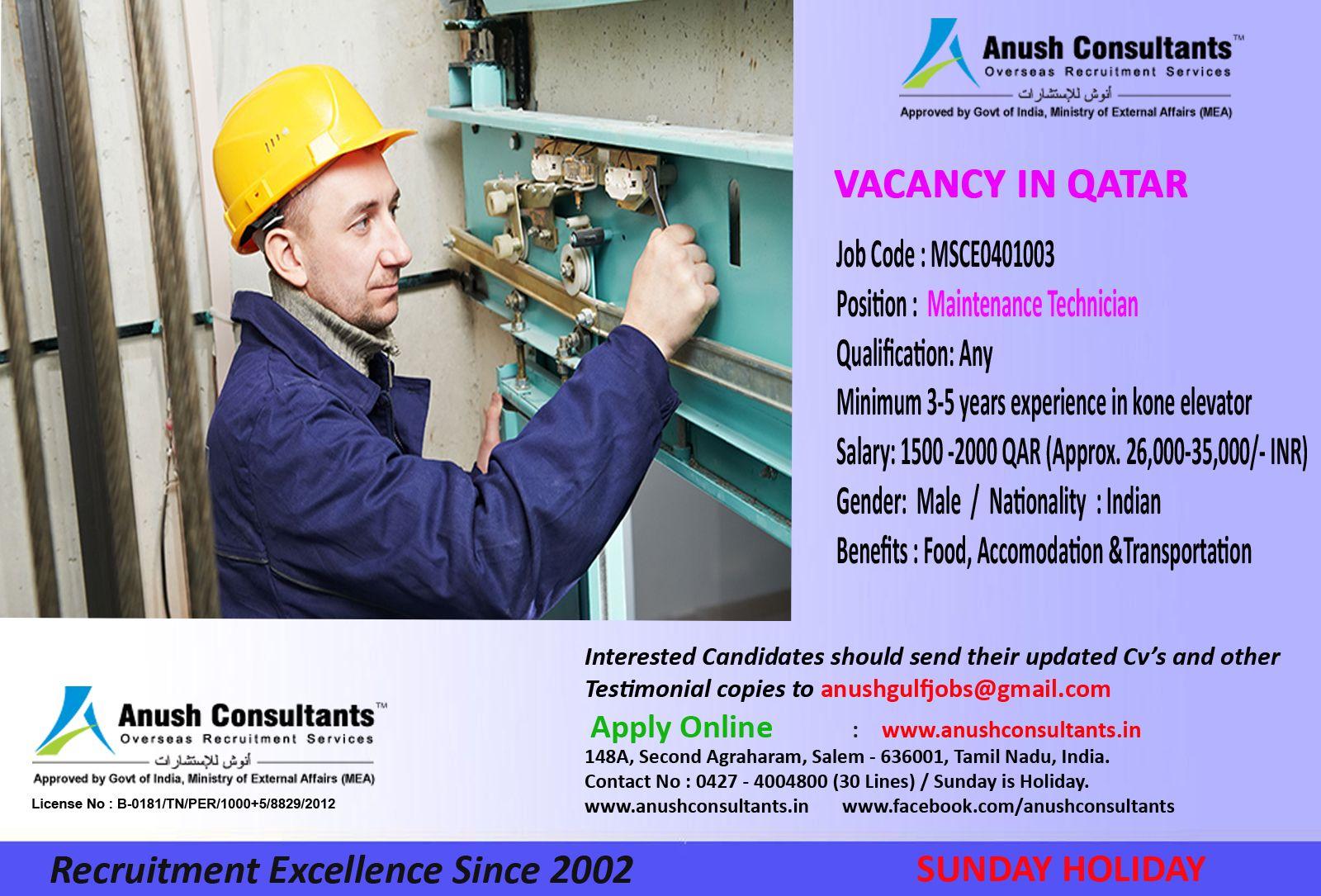 Maintenance technician vacancy in qatar required