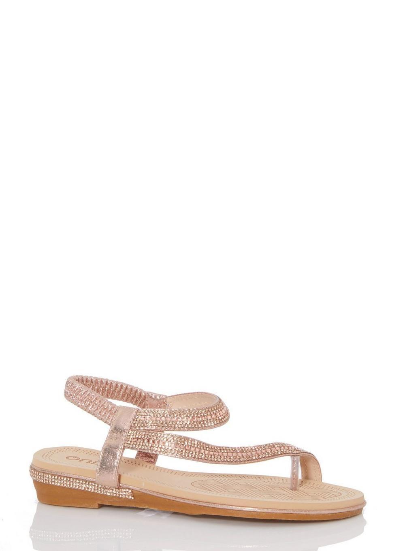 Gold flat sandals, Rose gold flats