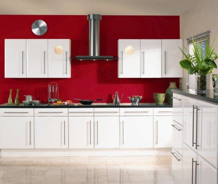 möbelfronten modernes design rote wandfarbe küchengestaltung ... | {Küchengestaltung 10}