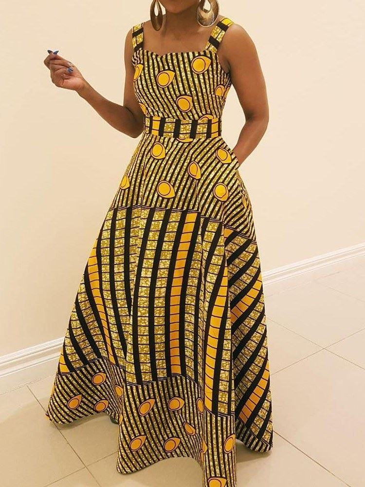Ericdress African Fashion Expansion Floor Length Sleeveless