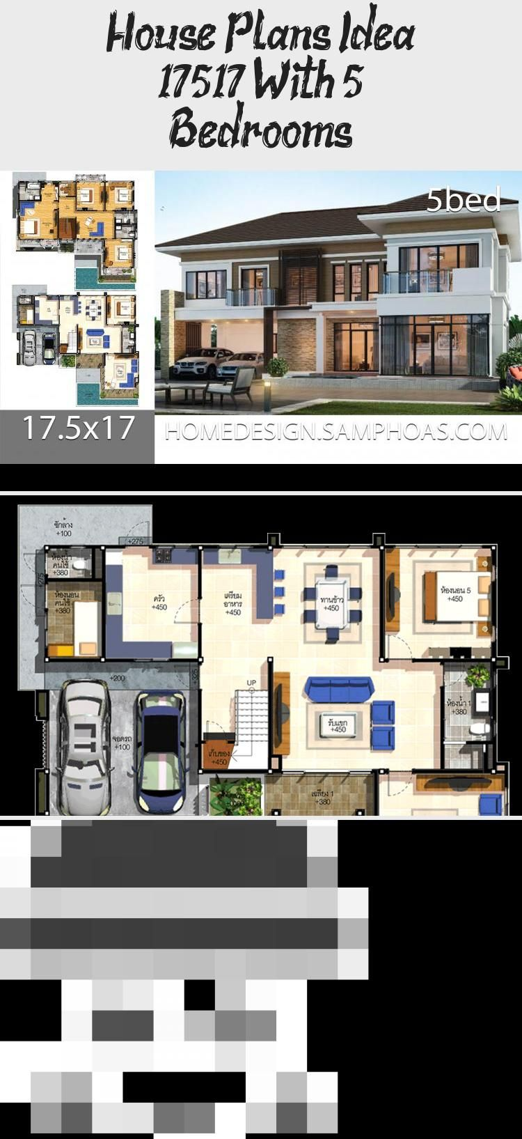 House Plans Idea 17 5 17 With 5 Bedrooms In 2020 House Plans Modern House Plans Modern House Plans Open Floor