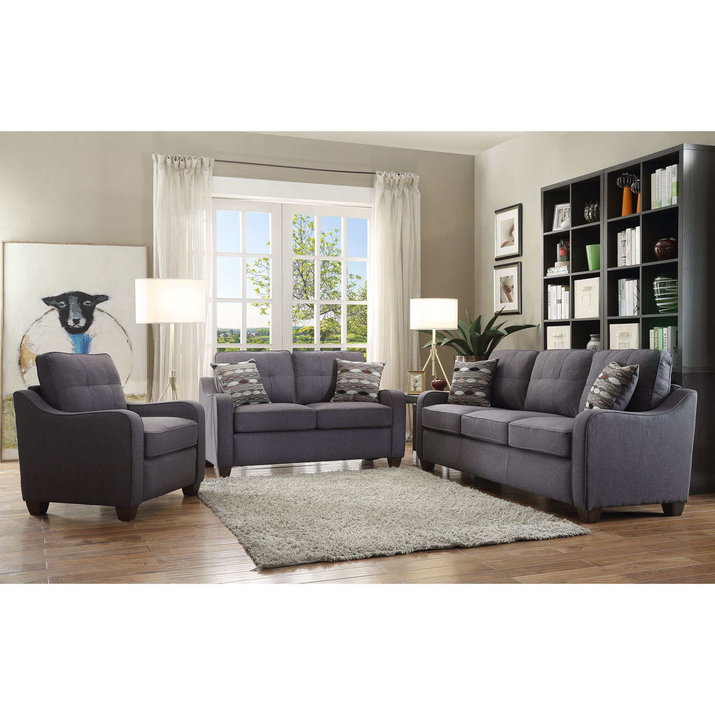 Acme Furniture Cleavon II Grey Linen Sofa With Throw Pillows |  Overstock.com Shopping