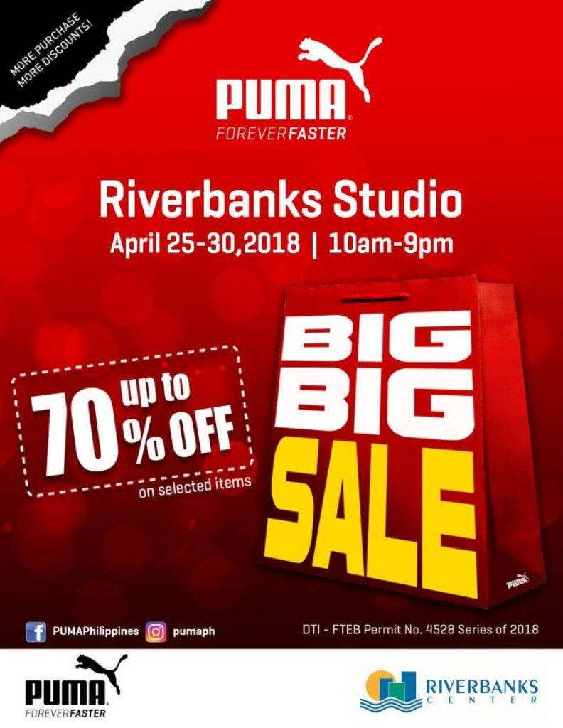 ab9dac9c9229 PUMA Big Big Sale at Riverbanks Studio is bringing blaze and heating up the  summer fever. Snag a deal up to 70% OFF and stock up your most-loved  running and ...