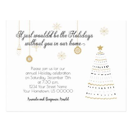 Black and Gold Stylized Holiday Party Invite Postcard Weddings