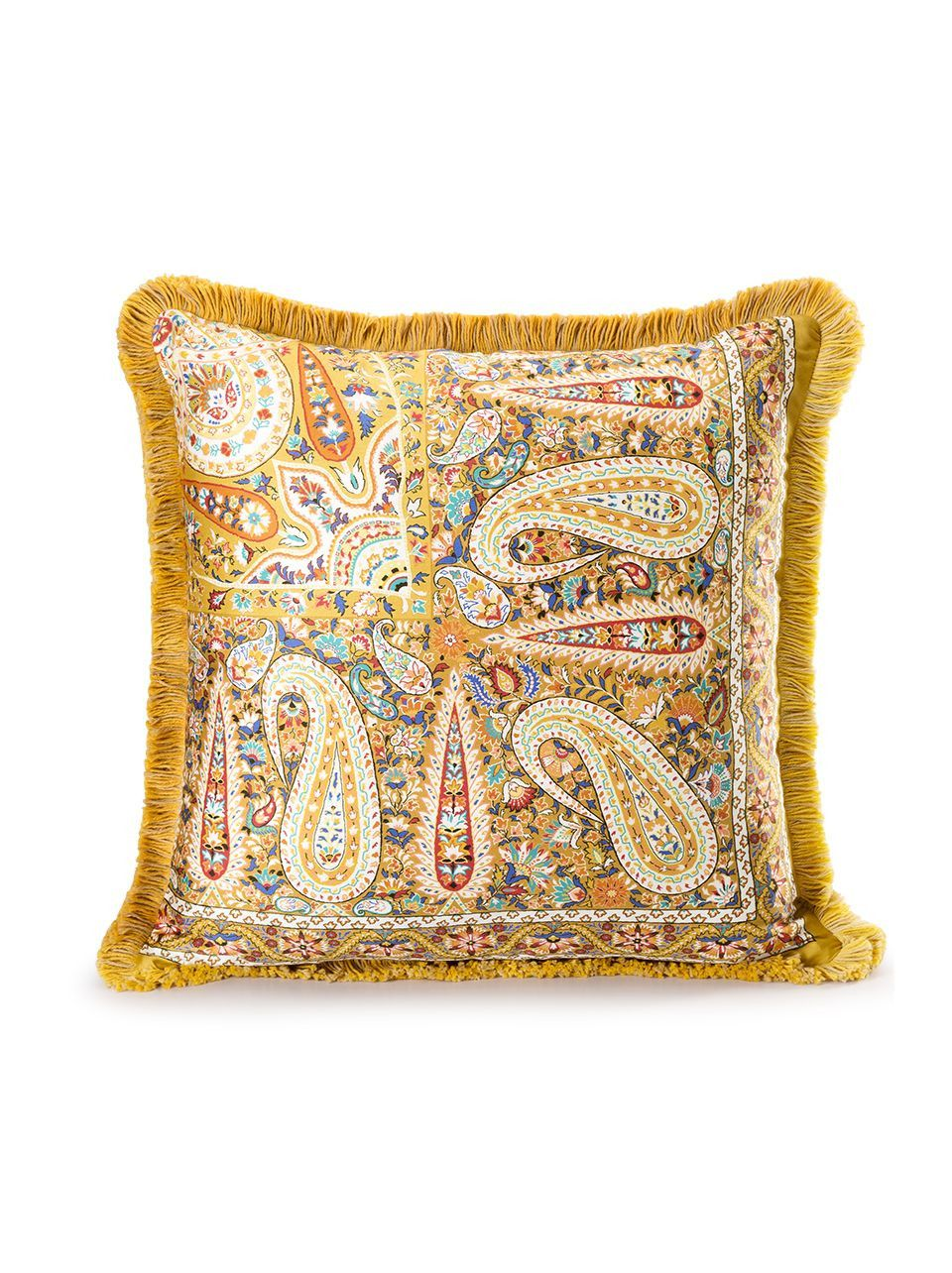 etro yellow fringed throw pillow | Paisley design, Paisley