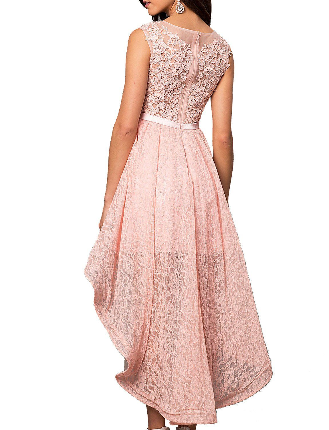 Lily wedding womens lace beaded high low prom dresses long