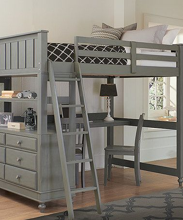 Zulily Cute Desk Under A Full Size Loft Storage Maybe Add Stairs Instead Of A Ladder Loft Bed Desk Twin Loft Bed Loft Bed