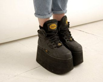 f94237cddbe6 Vintage 90s grunge rare black buffalo 1310-2 tower platforms platform  sneakers uk 6   us 8