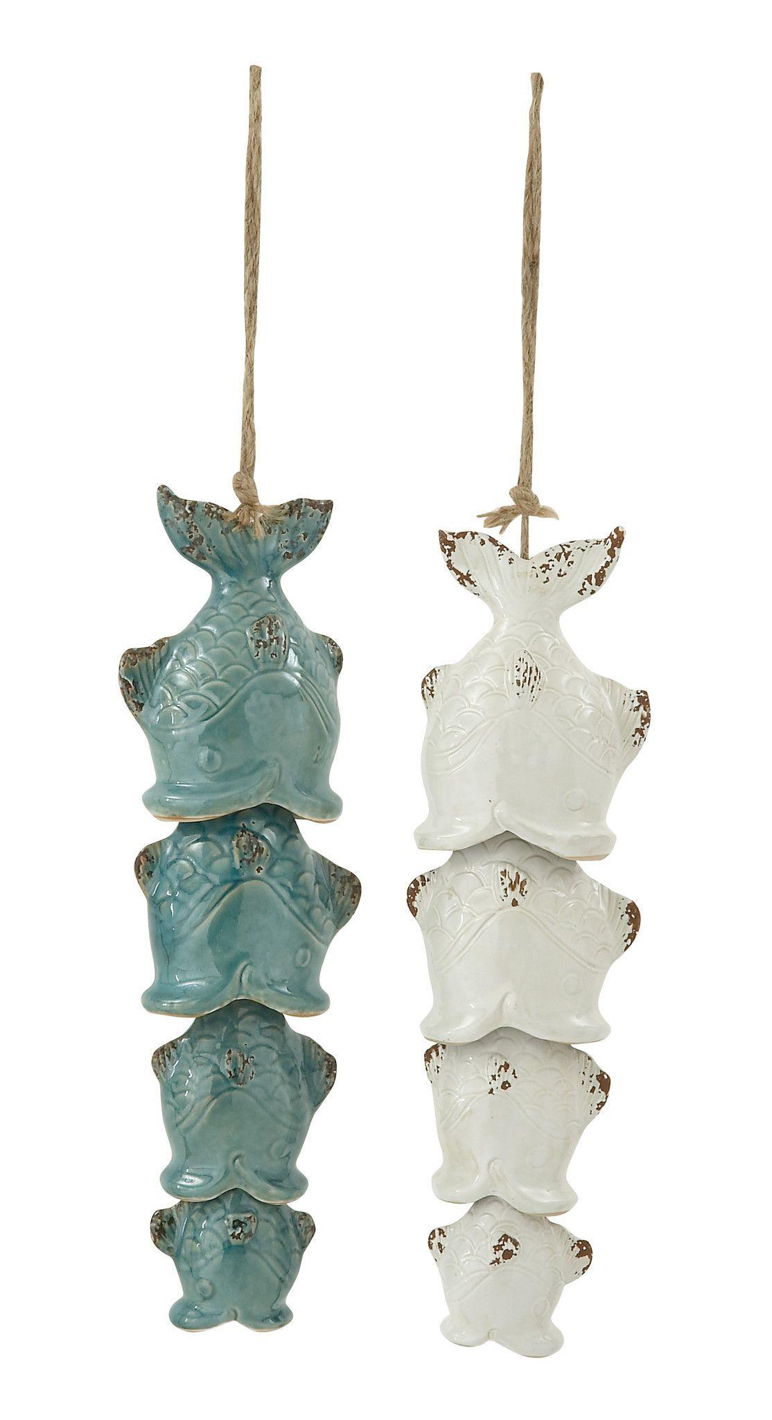 Cute Ceramic Fish Wind Chime 2 Assorted Wind Chimes Ceramic Fish Ceramic Bell