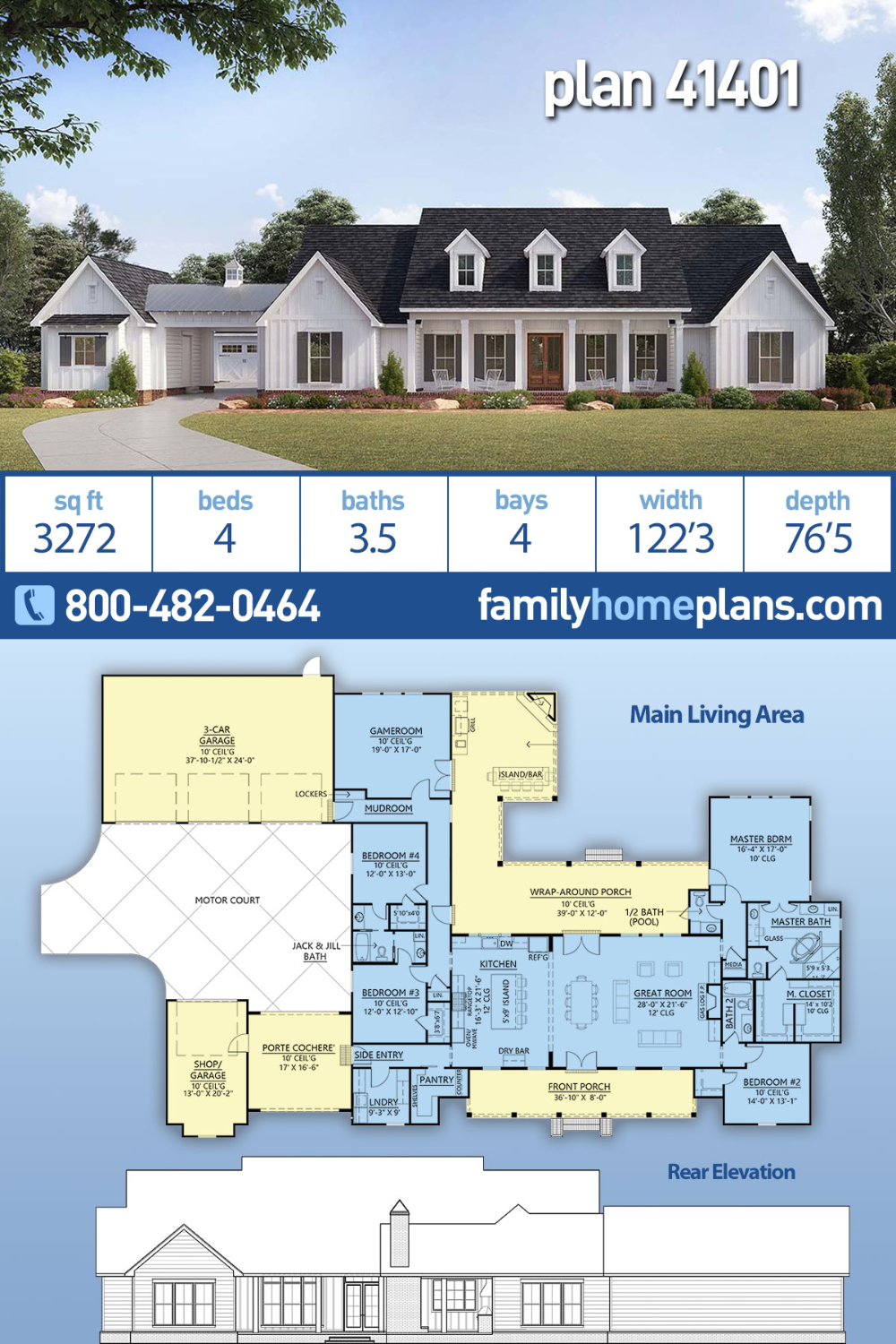 Traditional Style House Plan 41401 With 4 Bed 4 Bath 4 Car Garage Family House Plans Dream House Plans House Plans Farmhouse
