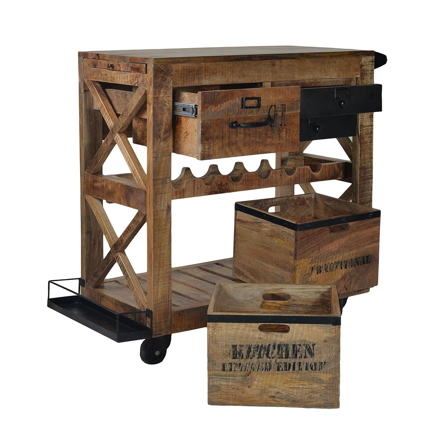 Industrial look bar service trolley to place all your bar ...