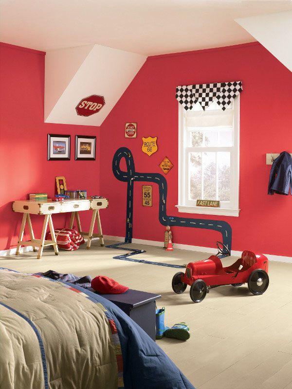 Resultado de imagen de decorar habitacion pared roja for Decorar habitacion bebe nino
