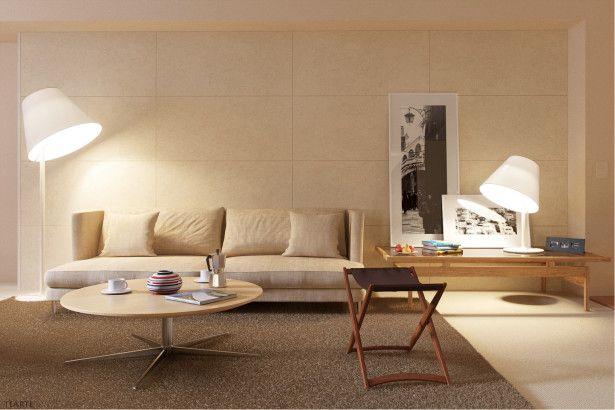 Cream living room rendered minimalist spaces by rafael reis photo 10