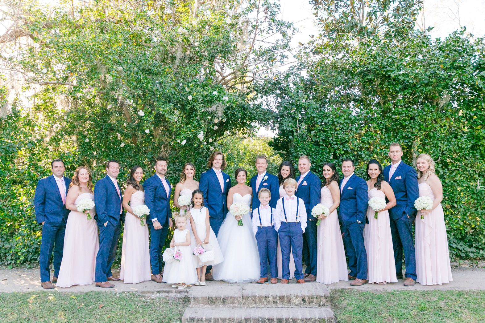 Long Blush Bridesmaid Dresses And Navy Blue Suits Blush Ivory Navy Gold Fall Wedding At Middleton Navy Gold Wedding Blush Bridesmaid Dresses Long Wedding