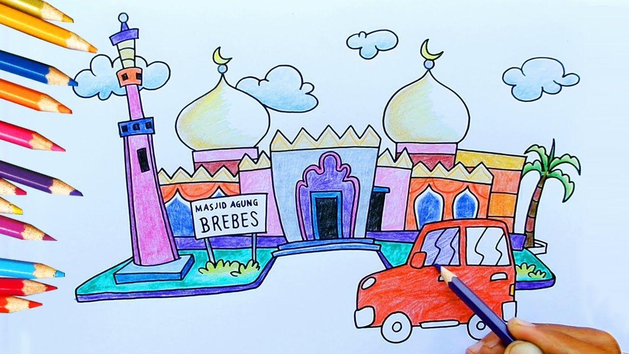Cara Mewarnai Gambar Pemandangan Masjid 2 Kartun Anak Islami