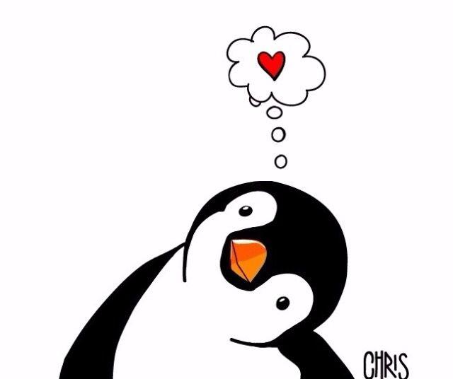 Pingüino ️ Dibujos de pinguinos Pinguinos enamorados
