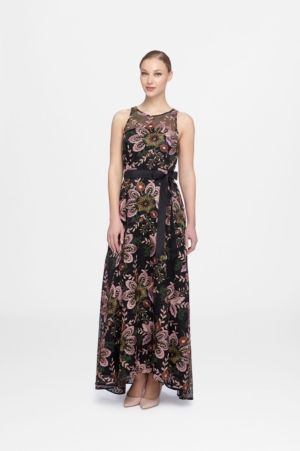 57464fdb16544 Tahari Asl Embroidered A-Line Gown - Black/Fuchsia 14 | Products | A ...