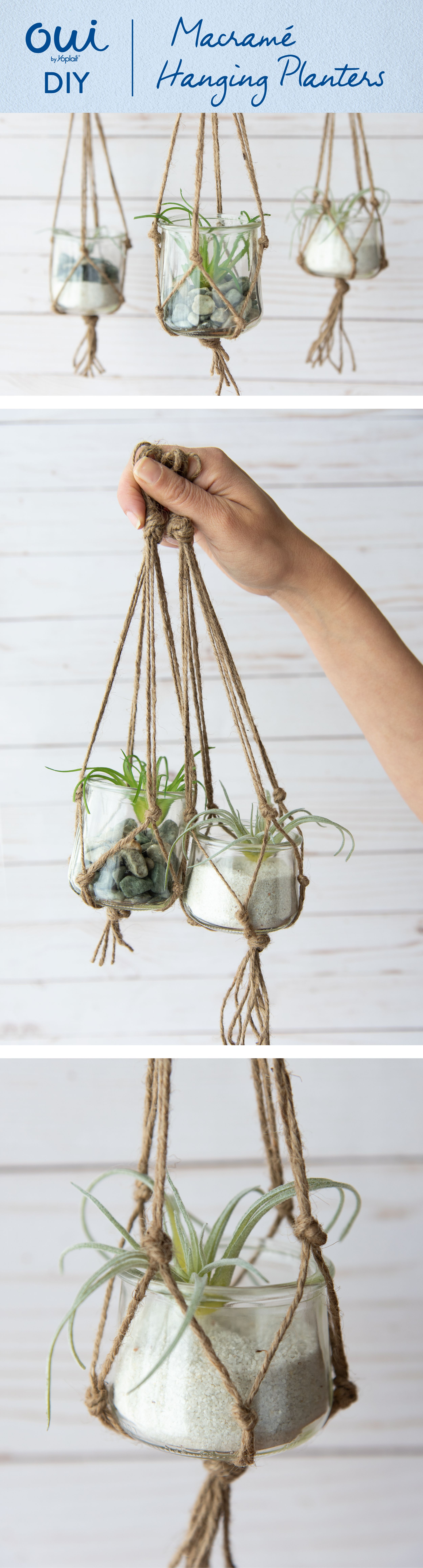 Macrame Hanging Planters are our favorite DIY for Oui glass pots! Cut four pieces of twine to the same length, loop in half and tie a knot to create a handle. Split twine into four sections of two strings, tie knots between each section 3 from the handle. Repeat, tying knots to adjacent strings. End in one final knot. Prep air plant as desired and place inside macrame holder. Enjoy! #diyyarnholder