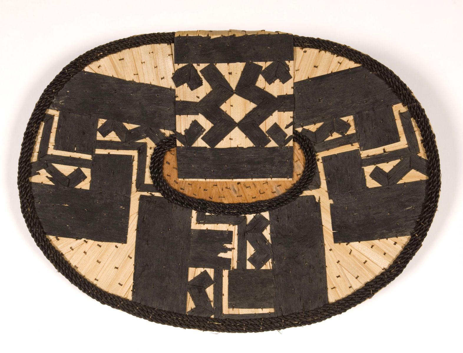 "Mangbetu Woman's Ornament ""Negbe"" DR Congo first half 20th century. Collected by The Missionary Sisters of Namur Brought to Belgium in 1959 Size:  14"" x 9 1/2""  ( 36 x 24 cm)"