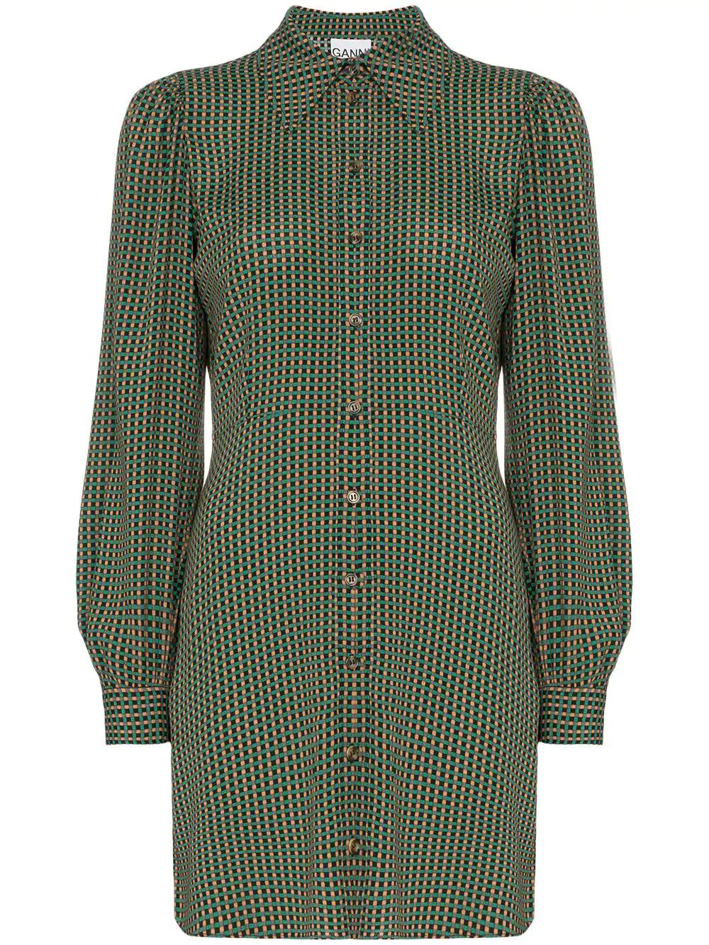 Green Ganni Check Print Shirt Dress |