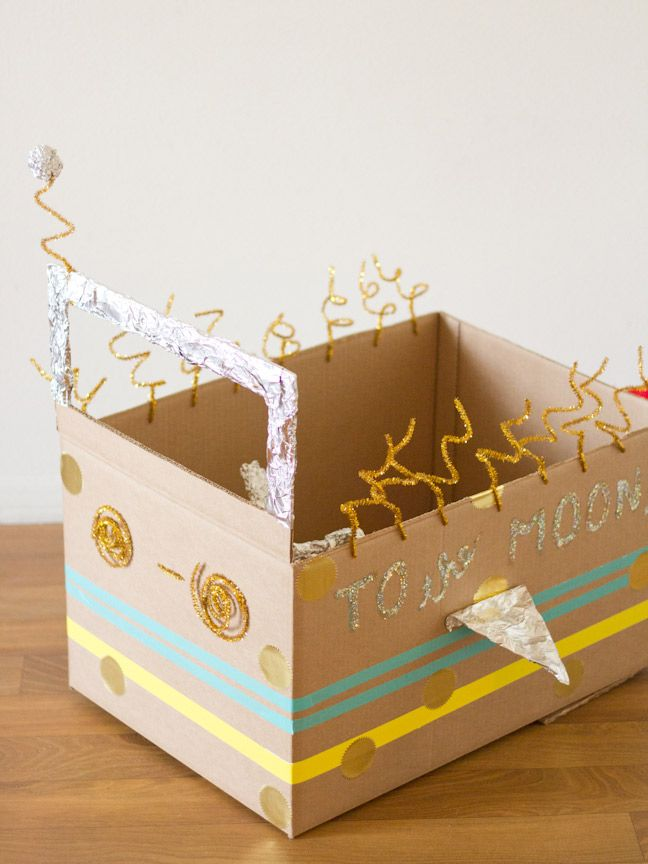 Cardboard Craft Boxes To Decorate Diy Cardboard Box Rocket Ship  Fun Diy Cardboard Boxes And Ships