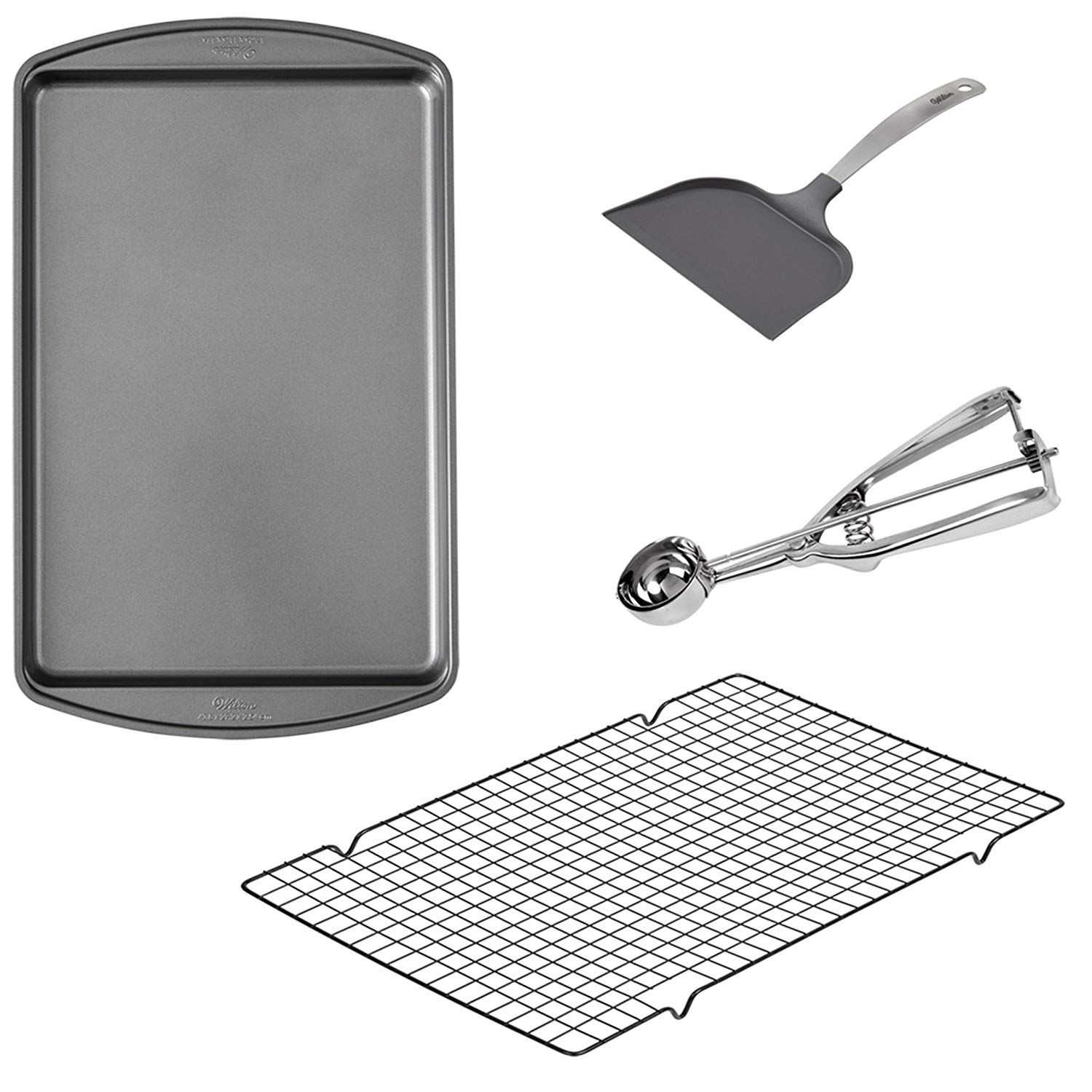 Wilton Cookie Baking Set 4 Piece 17 25 X 11 5 Inch Non Stick Cookie Sheet 16 X 10 Inch Non Stick Cooling Rack Non Stick S Baking Set Wilton Cookie Sheet