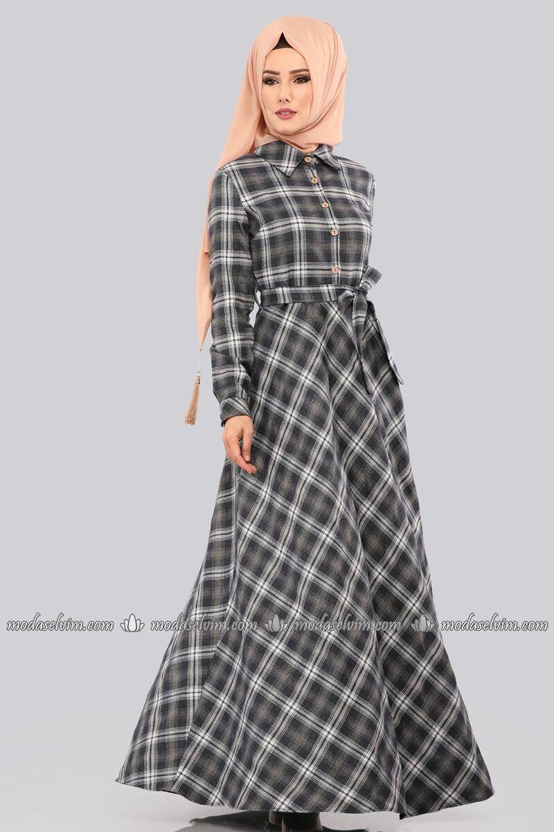 Moda Selvim Ekose Desen Elbise Dmn8343 Gri Maksi Elbiseler Elbiseler The Dress