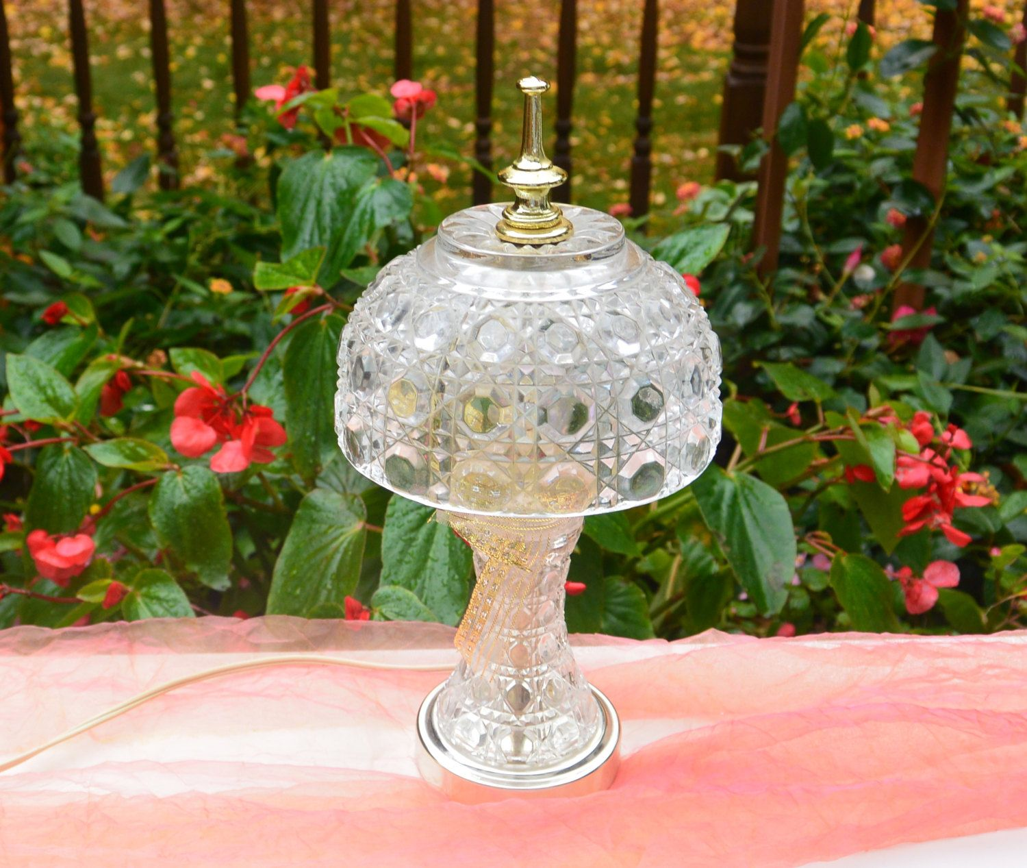 1970's Glam Lamp - Glass, Gold Metal, Night Lamp, Bedside Lamp, Entry Lamp, Bath Lamp - Vintage - Gorgeous! by YPSA on Etsy