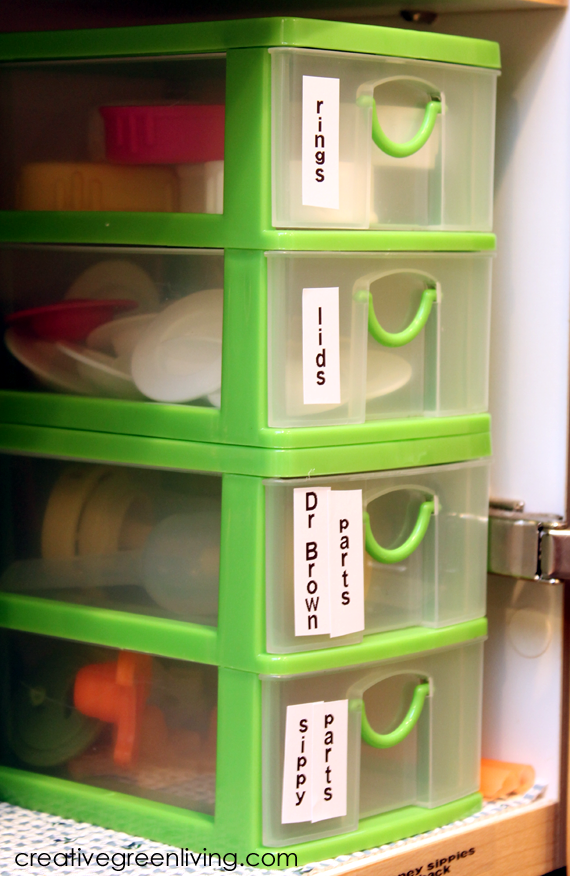 If your bottle parts and sippy cups are out of control, try these six tips to organize the chaos.