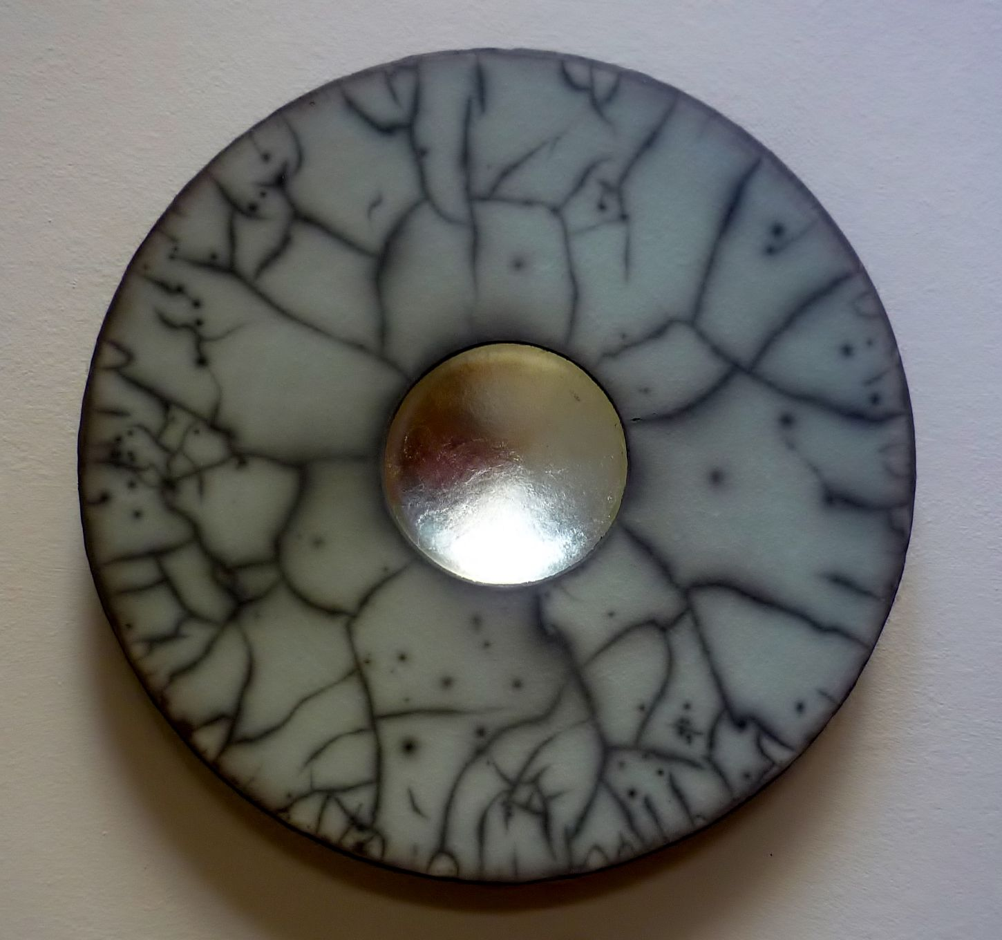 Emma Johnstone | Duck egg slip and white gold leaf. 30cm wall piece