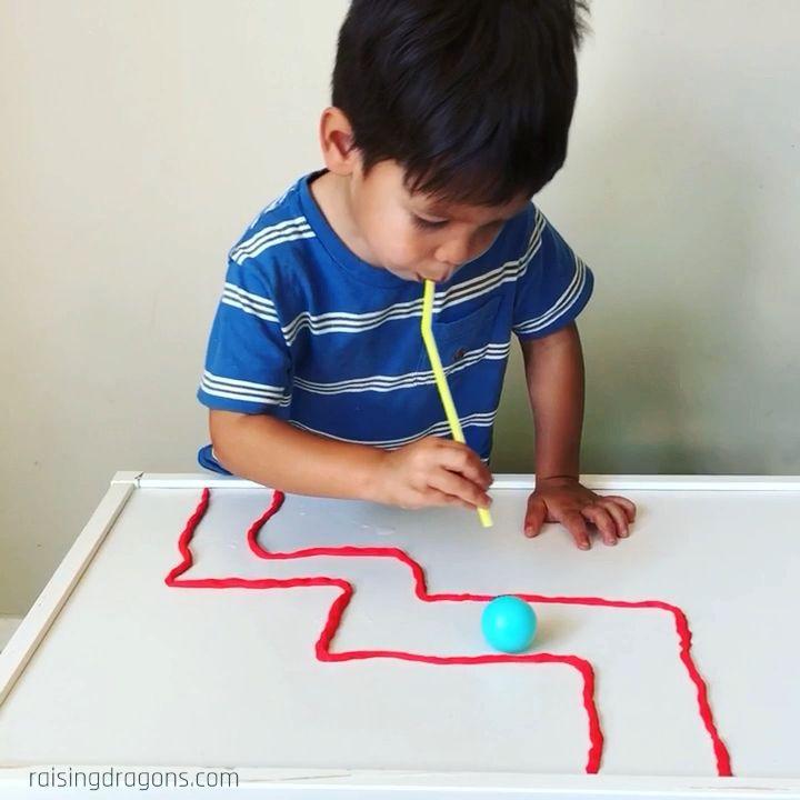 Ping Pong Playdough Straw Maze * ages 2+ ⋆ Raising Dragons
