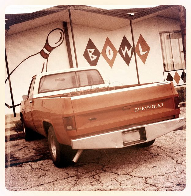 Bowling Alley Mineral Wells Texas Vintage Pickup Truck Chevrolet
