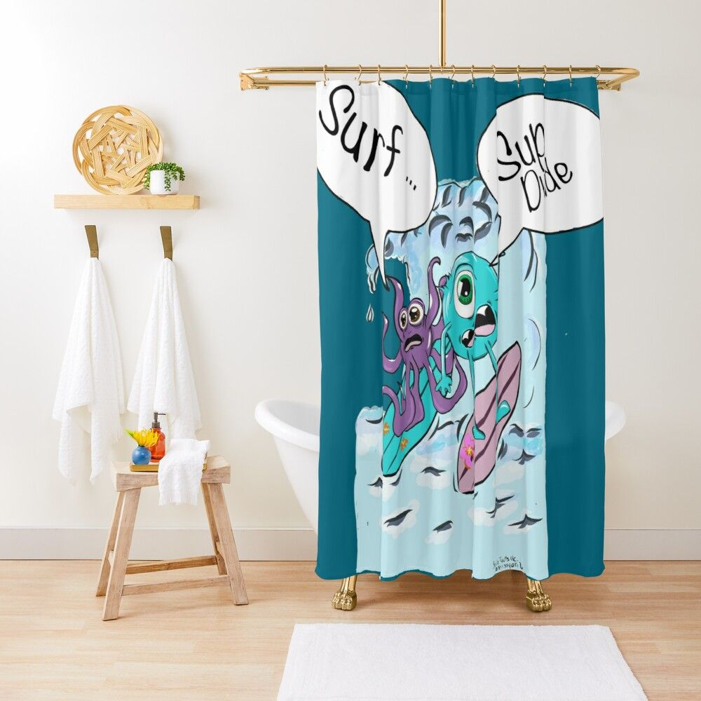 Surf Sup Dude Monsters Surfing Shower Curtain With Images Designer Shower Curtains Shower Curtain Curtains
