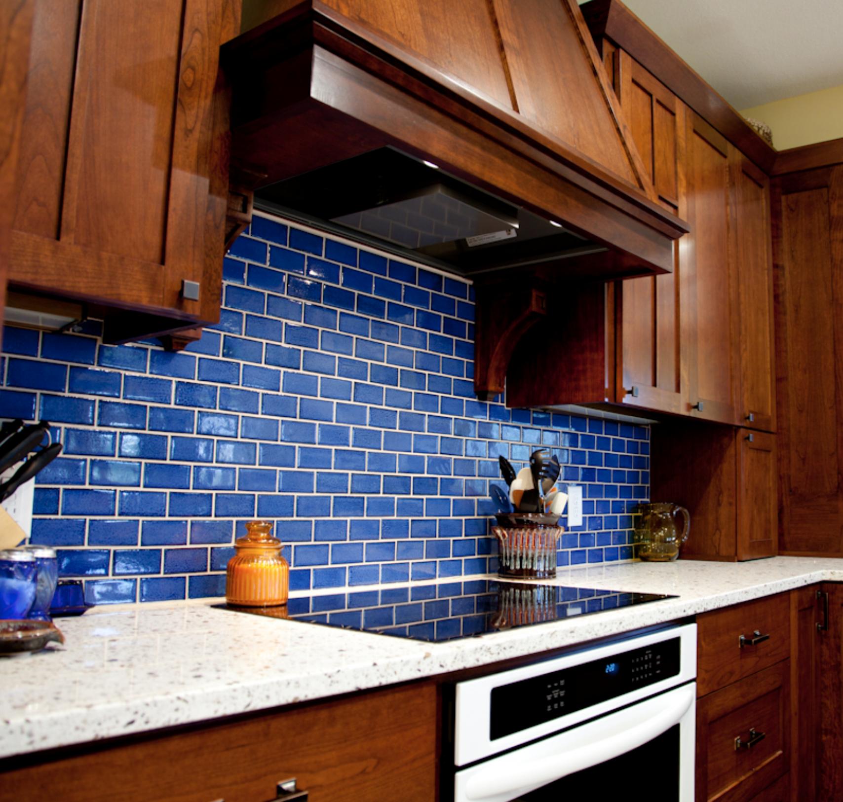 Bold Blue Subway Tile Kitchen 23 Sapphire Blue Handmade Tile Kitchen Kitchen Style Mercury Mosaics