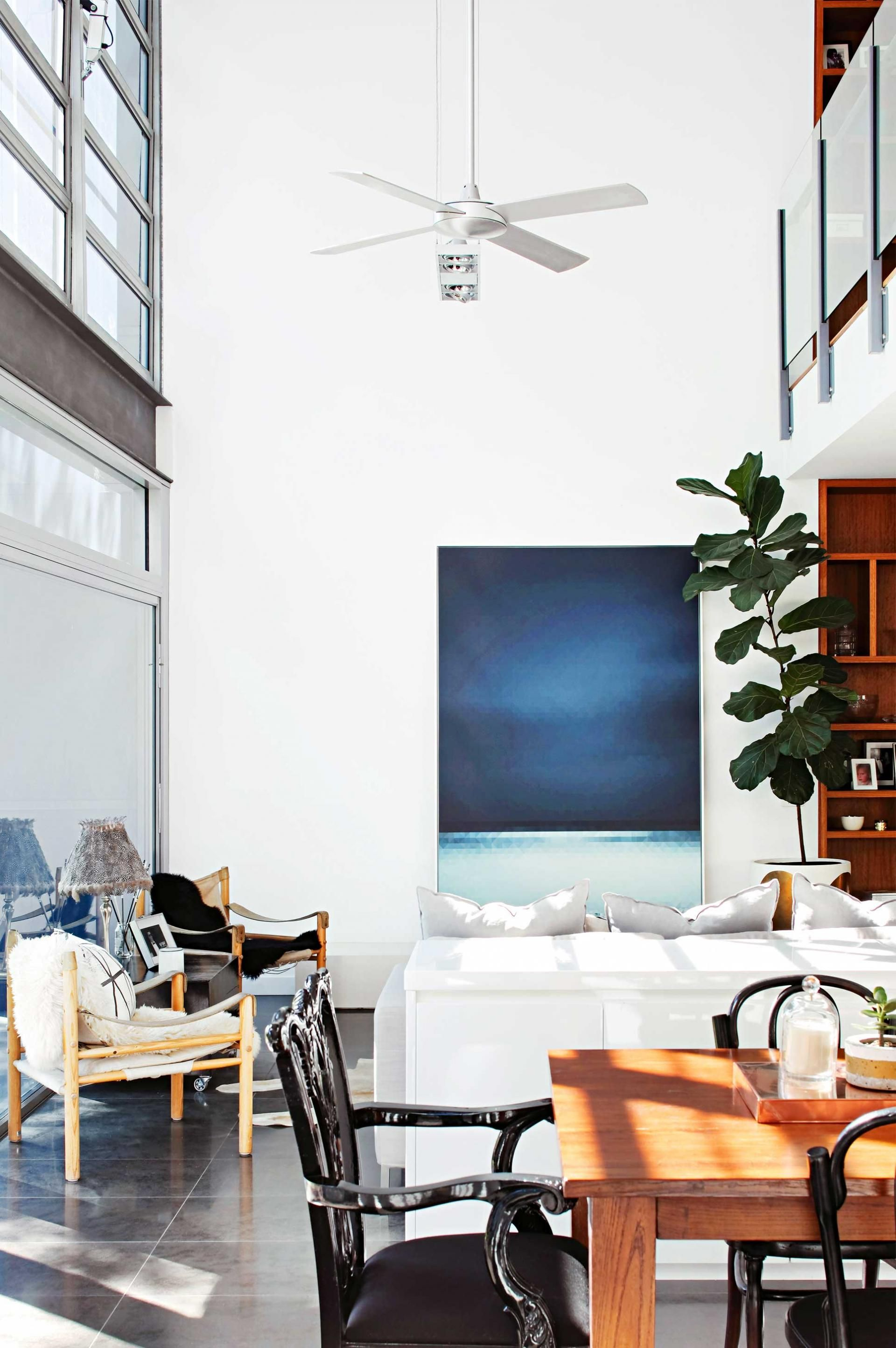 High ceiling fan modern dining room mar15